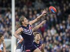 Aaron Sandilands of the Fremantle Dockers during the Round 18 AFL match between the Fremantle Dockers and Greater Western Sydney at the Domain Stadium in Perth, Sunday, August 2, 2015.Fremantle won the match 84-63.