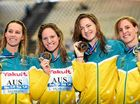 GOLDEN GIRLS: Gold medallists Cate Campbell, Bronte Campbell, Emma McKeon and Emily Seebohm pose during the podium ceremony of the women's 4x100m freestyle relay at the 2015 FINA World Championships in Kazan.