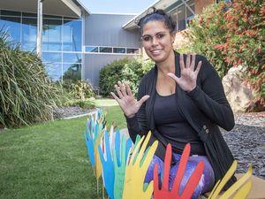 First-year nursing student Kelly McBride celebrates NAIDOC Week at USQ Fraser Coast.