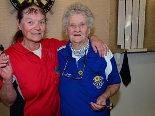 FINE VINTAGE: With a combined age of 159 Lizzy Carson and Barbara Noyce can still be found playing darts. Photo Keagan Elder / South Burnett Times
