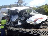 A MAN has sustained serious injuries but is lucky to be alive after a harrowing collision with a truck north of Maclean.