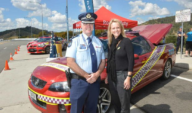 ROAD SAFETY: Main Roads and Gympie police hosted a road safety stop on the Bruce Hwy at Federal yesterday for Road Safety Week. Pictured is Acting Superintendent Bruce McNab and Main Roads regional director Kellie Hammond.