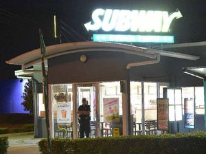 INVESTIGATION CONTINUES: Police at the scene of an armed robbery at Subway in Aerodrome Rd, Maroochydore.