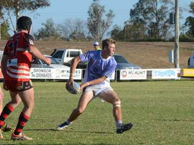 LOOKING FOR SUPPORT: Diehards player Dylan Taylor against Valleys last weekend. Dalby won the match 68-20.