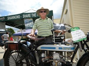 Lorne Bauman with his 1924 Douglas 2 3/4 H.P. Photo Allan Reinikka / The Morning Bulletin
