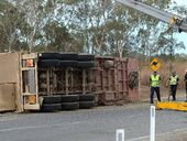 A TRUCK driver was injured and five head of stock died after a cattle truck rollover at Eton.