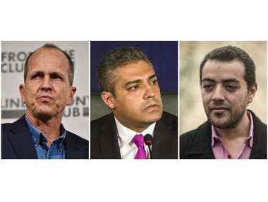 A combination of file pictures made on August 29, 2015 shows Al-Jazeera's Egyptian producer Baher Mohamed (R), Al-Jazeera's Egyptian-Canadian reporter Mohamed Fahmy (C) and Australian journalist Peter Greste.