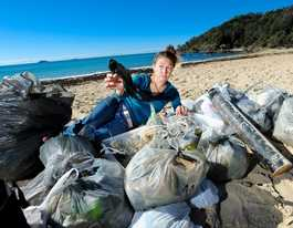 Plastic bottles collected from beaches have a story to tell
