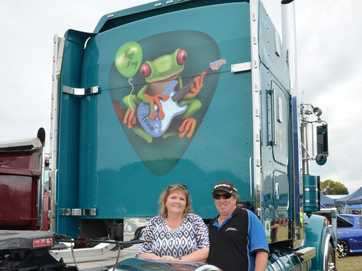 People and trucks at the Lowood Truck Show on Saturday.