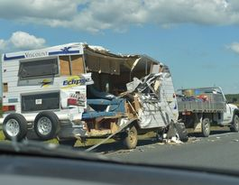 Truck and caravan Bruce Hwy crash scene cleared