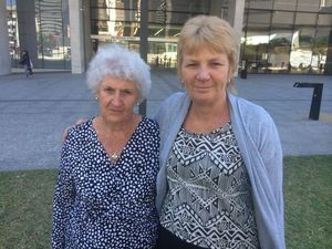 Mark Smith's partner Cheryl Stuner (right) and her mother Gwen Stuner watched as the woman responsible for a car crash which caused Mr Smith's death was sentenced to jail at Brisbane District Court.