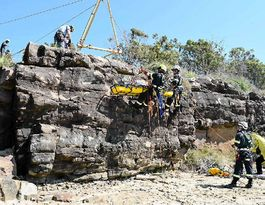 Firies face cliff scenario training at Pt Vernon