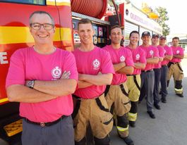 All in a pink fit: firies dress up for friends with cancer
