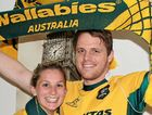 WORLD CUP BOUND: Toowoomba's Emily Durkin and Terry Harvey get their Wallabies gear ready for their trip to the United Kingdom for the Rugby World Cup.