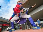 A SUPERHERO has flown in to entertain patrons young and old at the Coffs Harbour International Buskers and Comedy Festival this week.