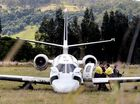 A small jet overshot the Lismore Airport runway on Friday afternoon, coming to a halt at the Caniaba Road end of the airstrip. Photo Cathy Adams / The Northern Star