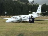 A PILOT visiting Lismore Airport says the pilot and passenger of a corporate jet that overshot the runway were lucky not to have been badly hurt.