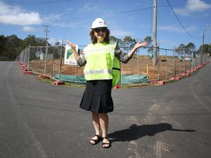 Councillor Lisa Bradley at the site of the new car park, under construction at Underwood Park. Photo: Contributed