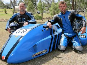 TOP SPEED: Hatton Vale speedsters Wesley Baldry and Damian Hoare will proudly compete in the Formula 1 category for road racing sidecars at Phillip Island this weekend.