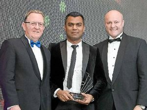 BETTER TIMES: Fred Mohammed at the 2014 Australian Transport and Logistics Awards, where he won Young Achiever of the Year. Here he was pictured with VTA president Brendan Hopley and Minister for Ports David Hodgett.