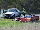 FATAL: The scene of the crash on the Cunningham Highway yesterday.