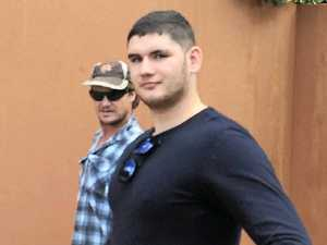 Foul-mouthed Daniel Pilkington leaves Gladstone courthouse after being fined for his tirade in the Gladstone Hospital.