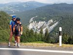 """Stuart Wright and his 10-year-old son """"Macca"""" on their month-long bike ride through Europe Photo: Contributed"""
