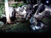 THE 28-year-old East Ballina man who crashed into a tree at high speed in Goonellabah and fled the scene has handed himself into Lismore police