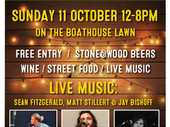 Noosa Boathouse Spring River Festival. Live Music - Jay Bishoff, Matt Stillert & Sean Fitzgerald. Stone & Wood Beers, Wine & Street Food on the Boathouse Lawn.
