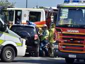 A WOMAN was treated for minor injuries after her vehicle collided with a truck at Gailes on Wednesday afternoon.