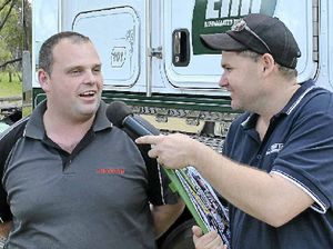 WINNER: Ground Announcer Ryan Godden has a chat with Kenworth driver Brad Russell, who took out Best Local Truck.
