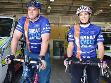 WORTHY CAUSE: Yeppoon paramedics Jason Thompson and Bev Brown are part of the local team taking part in the Great Cycle Challenge fundraiser this month.
