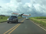 Passenger jet's close encounter with motorists