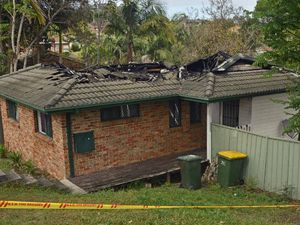 CAVED IN: Fire has gutted a house in Peppermint Place, South Grafton. Photo: Clair Morton