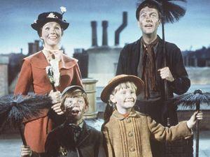 CHIM CHIM CHER-EE: Julie Andrews, Dick Van Dyke, Matthew Garber and Karen Dotrice in the film version of Mary Poppins.