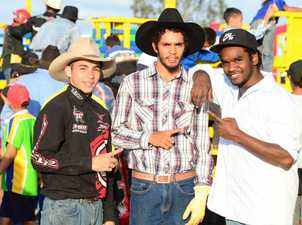 Bull rider Bow Button gets into the mindset with Allen Cobbo and Trevor Davidson. Photo Keagan Elder / South Burnett Times