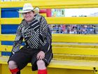 INJURY is a regular part of the job for rodeo clown Brendan Sayer: a true case of no pain no gain.