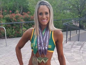 AUSSIE CHAMP: Kelli Blanchfield is looking forward to competing again next year after placing in the top five of the INBA Australian Championships Fitness Model novice category. INSET: Kelli at the Queensland Championships, where she placed third.