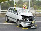 The driver of a car lost control on the Pacific Hwy/Sawtell Rd overpass in a serious crash late last night.