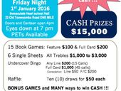 BIG Bingo - $15,000 in CASH one night only. Friday Night 1st January 2016 - Joint Fundraiser for Team Cupcake Inc. and Leichhardt Parish.