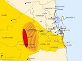 <strong>UPDATE: </strong>Severe thunderstorms are forecast to hit Warwick and Toowoomba by 7.25 pm and the area northeast of Warwick by 7.55pm.