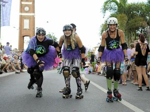 WHEELY READY: The Clarence Valley Roller Derby squad get ready for their bout in Yamba this weekend.