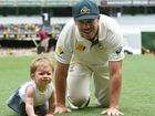 Australian Test cricketers celebrated their victory of New Zealand with their kids at the GABBA.
