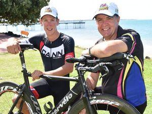 Hervey Bay 100 Triathlon - race organizer (R) Nick Downes with local triathlete Tayte Dixon. Photo: Alistair Brightman / Fraser Coast Chronicle