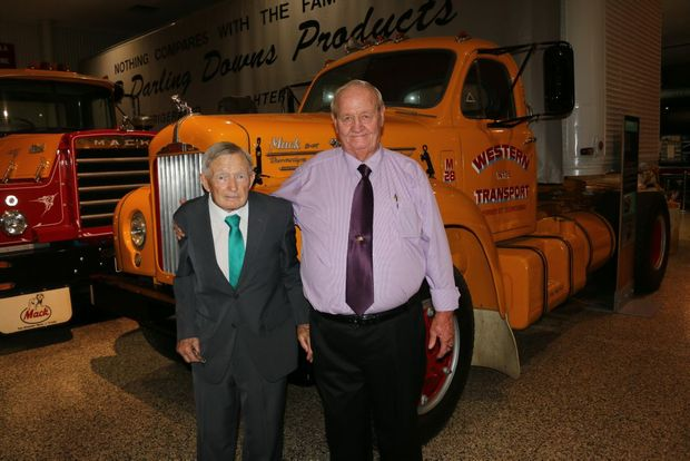 Arthur Lange and Peter Brownlie at the Queensland Transport Museum's Road Transport Legends Awards at the Lockyer Valley Cultural Centre on Saturday, November 14.Photo Tom Threadingham / Gatton Star