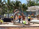 COLOURFUL tentacles of The 'Keppel Kraken' were unleashed on Yeppoon's main beach this morning as part of the construction of the foreshore water play feature.