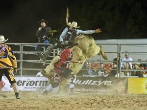 JC Davis on Smoke and Ice. PBR All Star Challenge, Bull Ride, Toowoomba. Saturday, Oct 03, 2015 . Photo Nev Madsen / The Chronicle