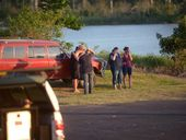 A FAMILY barbecue on the banks of the Burnett River at Sharon has ended in tragedy after a woman was killed in a jet ski crash.
