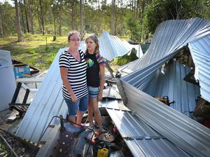 Cassey Pritchard and Mellissa Willing in the middle of the debris.