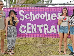 LET LOOSE: Local schoolies Jesse Gunders, Rhylee Goodwin, Kellie Van Bergen and Kyra Hadley outside Schoolies Central ready for the fun to begin on Saturday afternoon.
